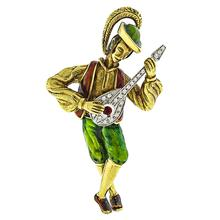 Estate 1960s 1.00ct Round Cut Diamond 0.15ct Round Cut Ruby Enamel  18k Yellow  Gold Banjo Player Pin