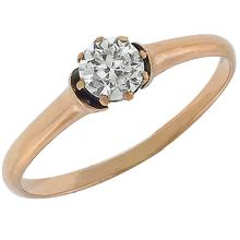 4k pink gold  diamond solitaire engagement ring 1
