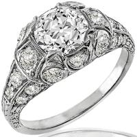 Art Deco GIA 1.55ct Diamond Platinum Ring