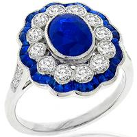 Estate 1.32ct Sapphire 0.88ct Diamond Gold Ring | Israel Rose