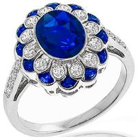 Estate 2.08ct Sapphire Diamond Gold Ring