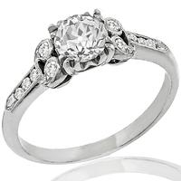 Antique Art Deco 0.62ct Old European Brilliant Diamond Platinum Engagement Ring