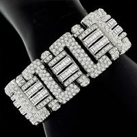 Estate 38.00ct Round And Baguette Cut Diamond 18k White Gold Bracelet
