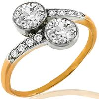 Victorian Toi Et Moi 0.90ct Diamond Gold Ring