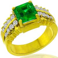 GIA 1.56ct Colombian Emerald Diamond Gold Ring