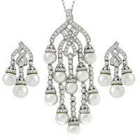 4.85ct Diamond Pearl Gold Pendant And Earrings Set