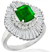 1.38ct Emerald 1.13ct Diamond Ballerina Ring