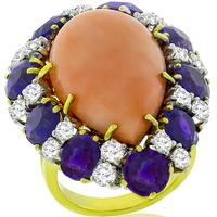 Estate Coral 6.75ct Amethyst 1.50ct Diamond 2 Tone Gold Ring