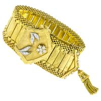 Retro Gold Diamond Geneve Watch Bracelet