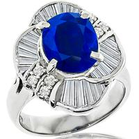 2.41ct Sapphire 1.18ct Diamond Platinum Ring