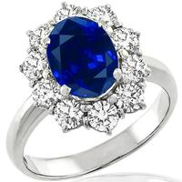 GIA 1.88ct Natural Sapphire 1.00ct Diamond Engagement Ring