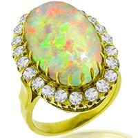 9.08ct Opal 1.75ct Diamond Gold Ring