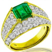 GIA 1.64ct Zambian Emerald 3.64ct Diamond Ring