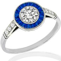 Estate GIA 0.58ct Diamond Sapphire Engagement Ring
