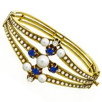 1960s 1.60ct Sapphire Diamond Pearl Gold Bangle