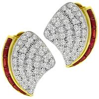 3.00ct Diamond 1.00ct Ruby Gold Earrings