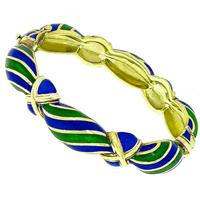 Estate 1960s Blue & Green Enamel  14k Yellow Gold Bangle