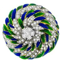Estate 1960's 3.00ct Round Cut Diamond Blue & Green Enamel Inlay 18k Yellow And White Gold Foliage Pin