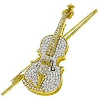 3.50ct Diamond Gold Violin Pin