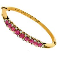 1950s 5.00ct Ruby Diamond Rose Gold Bangle