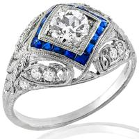 Antique Art Deco 0.59ct Circular Brilliant Diamond Sapphire Platinum Ring