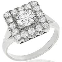 Estate 0.80ct Round Brilliant Diamond Platinum Ring