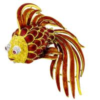 Diamond Ruby Enamel Goldfish