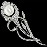 3.50ct Diamond South Sea Pearl Gold Pin