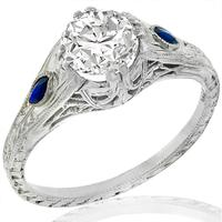 Art Deco 0.84ct Diamond Sapphire Engagement Ring