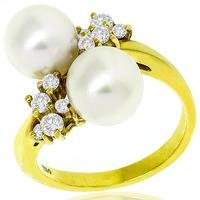 Mikimoto Pearl 0.30ct Diamond Gold Ring