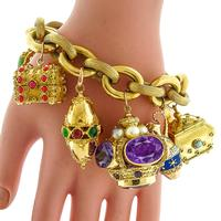 Multi Gem Novelty Charm Gold Bracelet