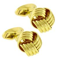 Estate Wempe 18k Yellow Gold Knot Head Cufflinks