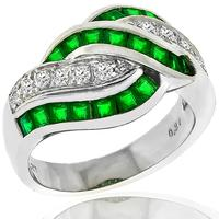 1.27ct Emerald 0.34ct Diamond Platinum Ring