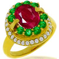 1.48ct Ruby 0.62ct Emerald 0.37ct Diamond Gold Ring