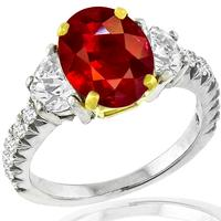 3.02ct Burmese Ruby 0.70ct Diamond Ring