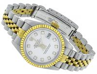 rolex datejust two tone diamond lady's watch photo 1