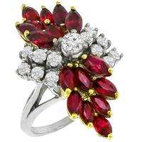 Estate 2.00ct Marquise Cut Ruby 0.55ct Round Cut Diamond Cluster 14k White Gold Cocktail Ring