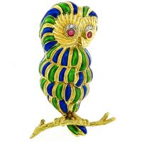 Ruby & Diamond Gold Enamel Owl Pin