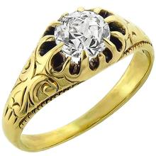 Victorian GIA Certfied 0.73ct Circular Brilliant Cut Diamond 14k Yellow Gold Ring