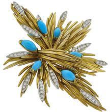 Turquoise 1.00ct Diamond  Gold Pin