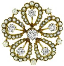Victorian 1.30ct Diamond Seed Pearl Pin / Pendant
