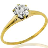 Victorian GIA 0.68ct Diamond Gold Ring