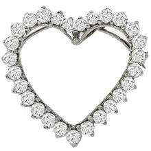 Vintage 2.50ct Round Cut Diamond 14k White Gold Open Heart Pin / Pendant Necklace