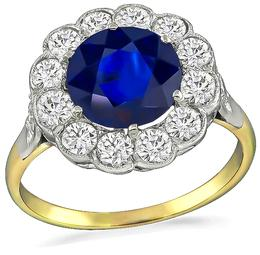 Vintage 2.80ct Sapphire 1.00ct Diamond Engagement Ring