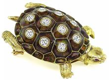 Vintage 3.00ct Diamond Enamel Turtle Pin / Pendant