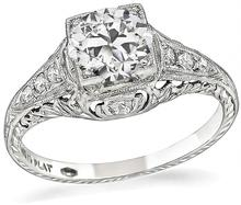 edwardian gia 0.82ct diamond engagement ring 1