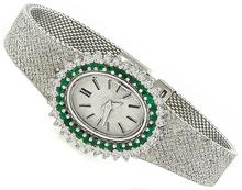Vintage Quartz 1.00ct Diamond 0.60ct Emerald Watch Photo 1
