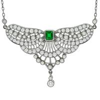 Diamond Colombian Emerald Platinum  Necklace ASSS