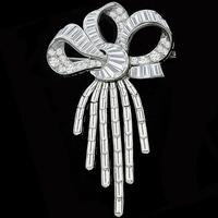 6.00ct Diamond Platinum Bow Pin/ Pendant