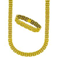 Estate Cougar Panther Style 18k Yellow Gold Chain Necklace & Bracelet Set